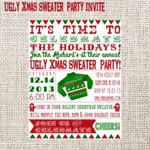 Ugly sweater christmas party invitation digital printable ea B B