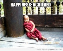 Happy Buddhist monk baby sleeping