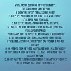 12 Reasons Why the Pastor Quit Attending Sporting Events #humor ...