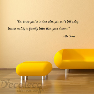 Love and Dreams Vinyl wall quote from Dr. Seuss decals