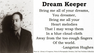 Then I passed out a sheet that had a few of Langston Hughes poems ...