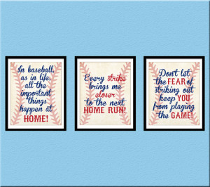 INSTANT DOWNLOAD, Baseball Quotes Nursery Wall Art, Home Run, Vintage ...