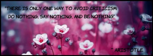 ... to avoid critiscism, aristotle quote, facebook timeline cover photo