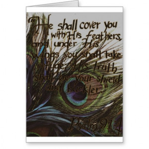 Peacock Feather Bible Scripture Greeting Card