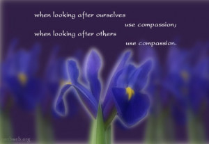 ... ourselves use compassion; When looking ater others, use compassion