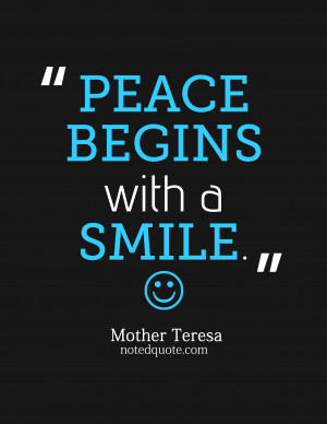 Peace Begins With A Smile Mother Teresa Peace Begins With A Smile
