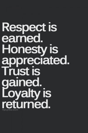 respect is earned. honesty is appreciated. trust is gained. loyalty is ...
