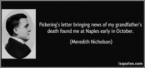 ... death found me at Naples early in October. - Meredith Nicholson