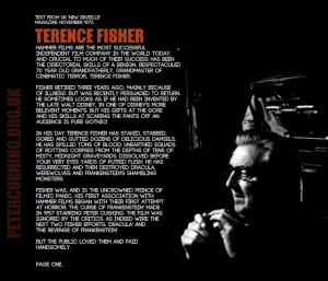 TERENCE FISHER: VINTAGE INTERVIEW EARLY 70'S: 'FRANKENSTEIN AND THE ...