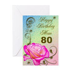 80th birthday card for mom, Elegant rose Greeting for
