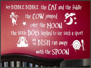 Nursery Rhyme Wall Lettering Quote Hey Diddle by WallsThatTalk, $45.00