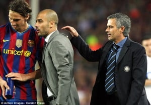 ... Barcelona's coach Josep Guardiola as he talks with Zlatan Ibrahimovic