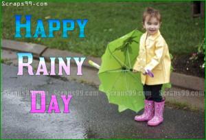 Smiling boy with umbrella wishes you happy rainy day