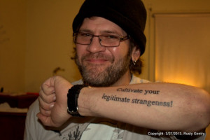 SP with my newest tat, a quote from French poet, Rene Char.