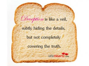 Deception is like a veil, subtly hiding the details,