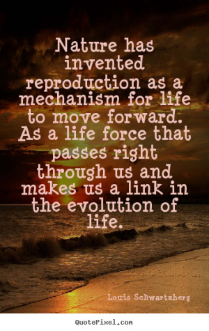 Quote about life - Nature has invented reproduction as a mechanism for ...