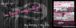Cowgirl Up Barrel Racing Facebook Cover - PageCovers.