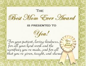 best mum in the world certificate