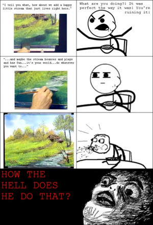 Painting with Bob Ross...aha this was always how I watched the show ...