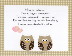 ... , Kids Wall Art, Twins Poem, Owls, Verse, Hearts Entwined, 8x10 Print