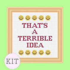 KIT Cross Stitch Sarcastic Quote That's a por DisorderlyStitches