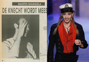 Martin Margiela shies from a picture on the left just after his first