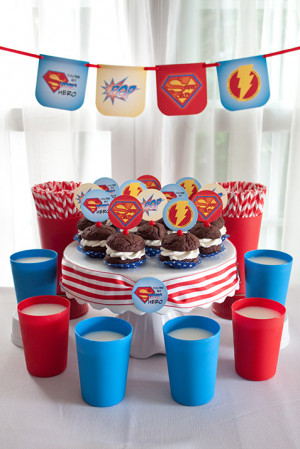 SupeR DaD Cake Stakes were used as cupcake toppers and cake stand ...