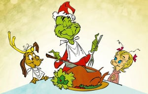 happy ending to the movie as the Grinch carves the roast beast.