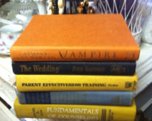 Vintage Mixed Color Book Stack Fiv e Books ...