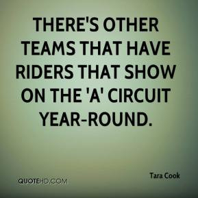 There's other teams that have riders that show on the 'A' circuit year ...