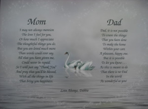 Mom Dad Poems Personalized Print Anniversary Christmas etc Gift for ...