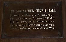 ... Currie Hall plaque Currie Hall @ Royal Military College of Canada