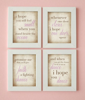 Word Art - Dance Quote - I Hope You Dance - Girl's Room - Set of 4 ...