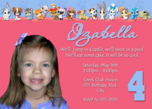 4th Birthday Party Invitation Wording http://www.poshnchicprints.com ...