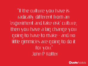If the culture you have is radically different from an 'experiment and ...