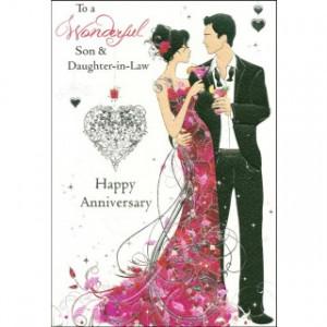 Wonderful Son & Daughter-in-Law Happy Anniversary' Wedding Anniversary ...
