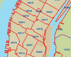 New York Zip Codes Map Quad