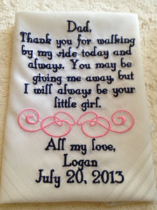 ... Father of the Bride wedding Handkerchief gift from bride to her father
