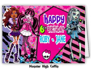 Details about Personalised Birthday Card with Monster High Coffin ...