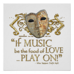 Twelfth Night Music Quote (Gold Version) Print