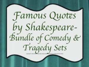 Quotes Shakespeare's Comedies & Tragedies BUNDLE Drama Theater ...