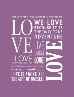 The Love Canvas Purple - Photo Canvas Print for Motivation, Quotes ...