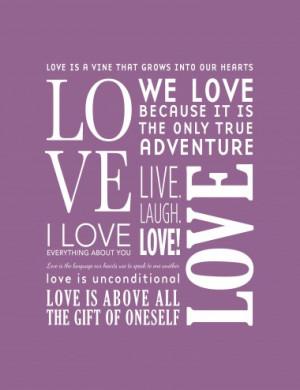 The Love Canvas Purple - Photo Canvas Print for Motivation, Quotes ...