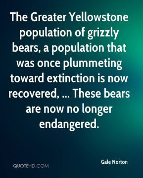 The Greater Yellowstone population of grizzly bears, a population that ...