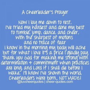 If you a cheerleader say this prayer before every game comp. And ...