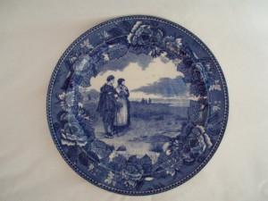 Image 0 of Wedgwood Flow Blue China Plate Return of Mayflower Pilgrims