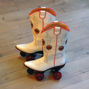 pair of cowboy roller skates. photo by Bits & Pieces