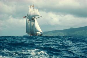 Sailboat in rough seas, St. Lucia, Carribean