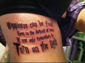 Rib Side Quote Tattoo For Girls