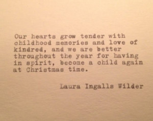 Laura Ingalls Wilder Christmas Quote Typed on Typewriter